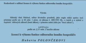 Licence k výkonu funkce odborného lesního hospodáře
